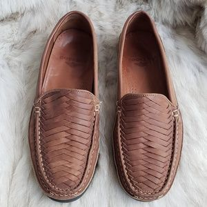 Dockers Woven Brown Leather Loafer Size 10M Men's